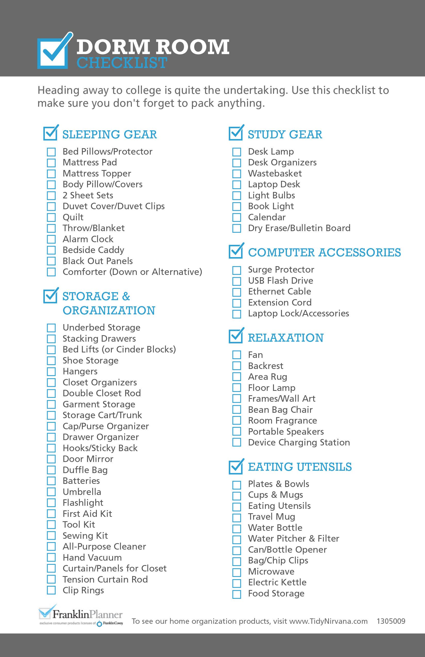 Classic Size Dorm Room Checklist