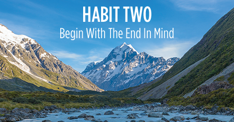 Habit two. Begin with the end in mind.