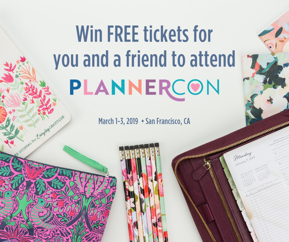 Win Free tickets for you and a friend to attend Plannercon. Mar 1-3 2019