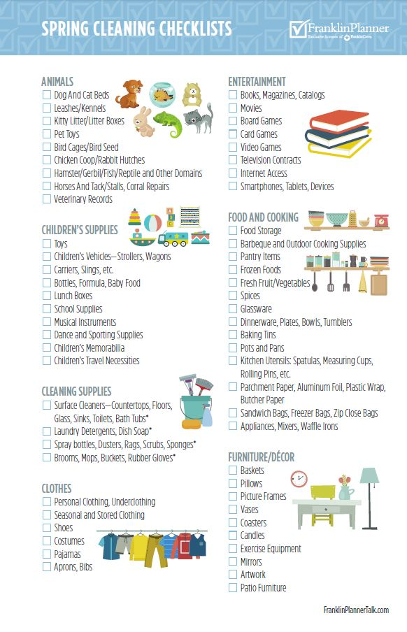 Sjpring Cleaning Checklists page 3