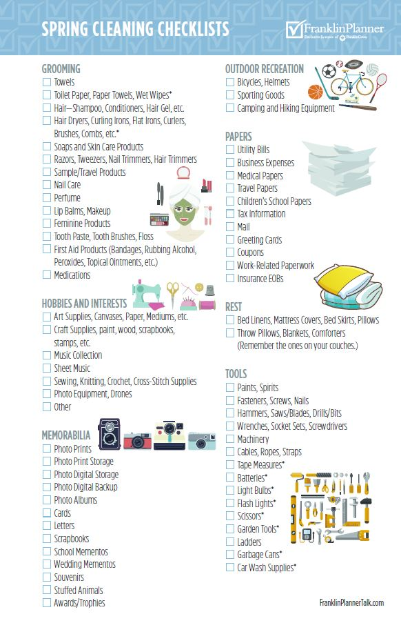 Spring cleaning Checklists page 2