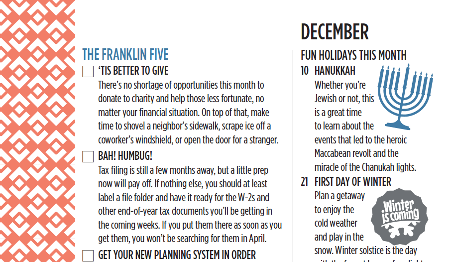 The Franklin Five for December