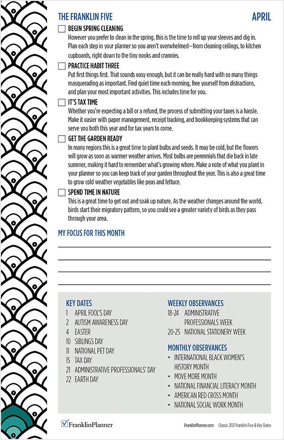 Franklin Five Checklist April 2021