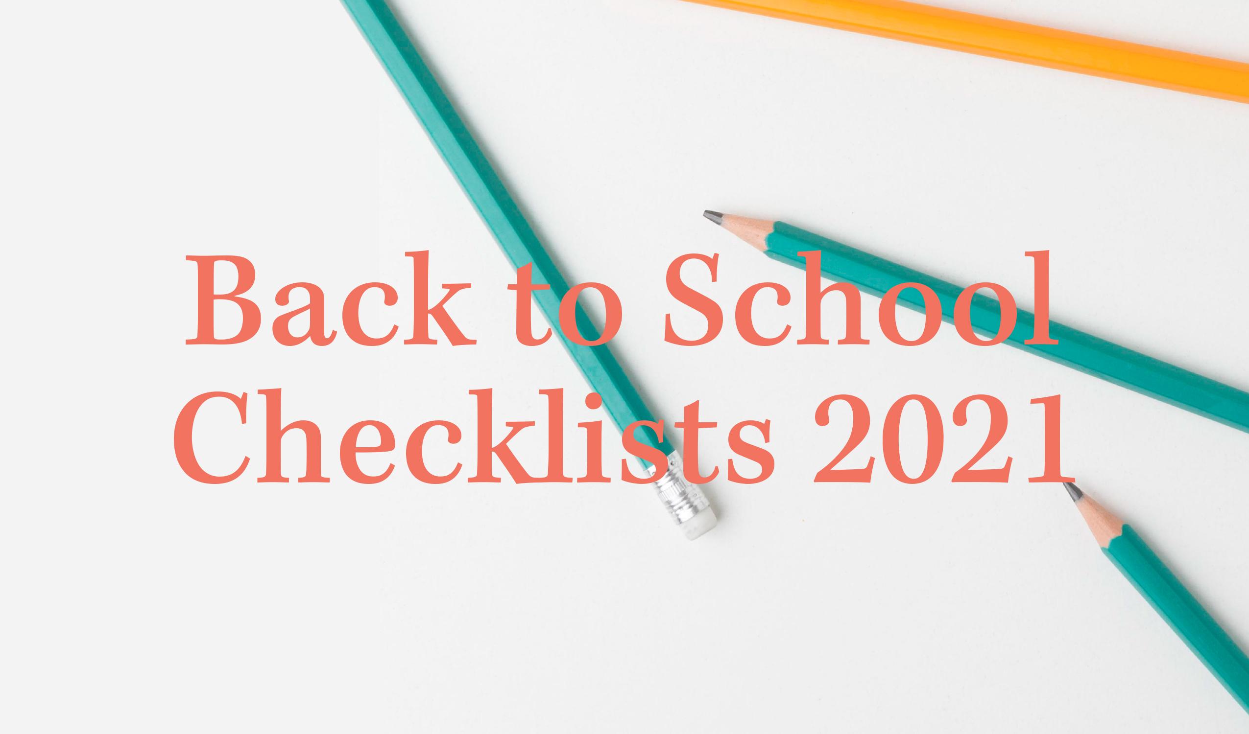 Back to School Checklists 2021